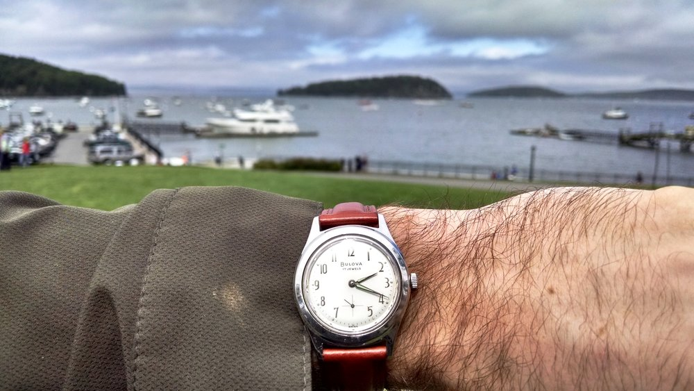 1963 Bulova Surf King overlooking Mt. Desert Narrows  Bar Harbor, Maine