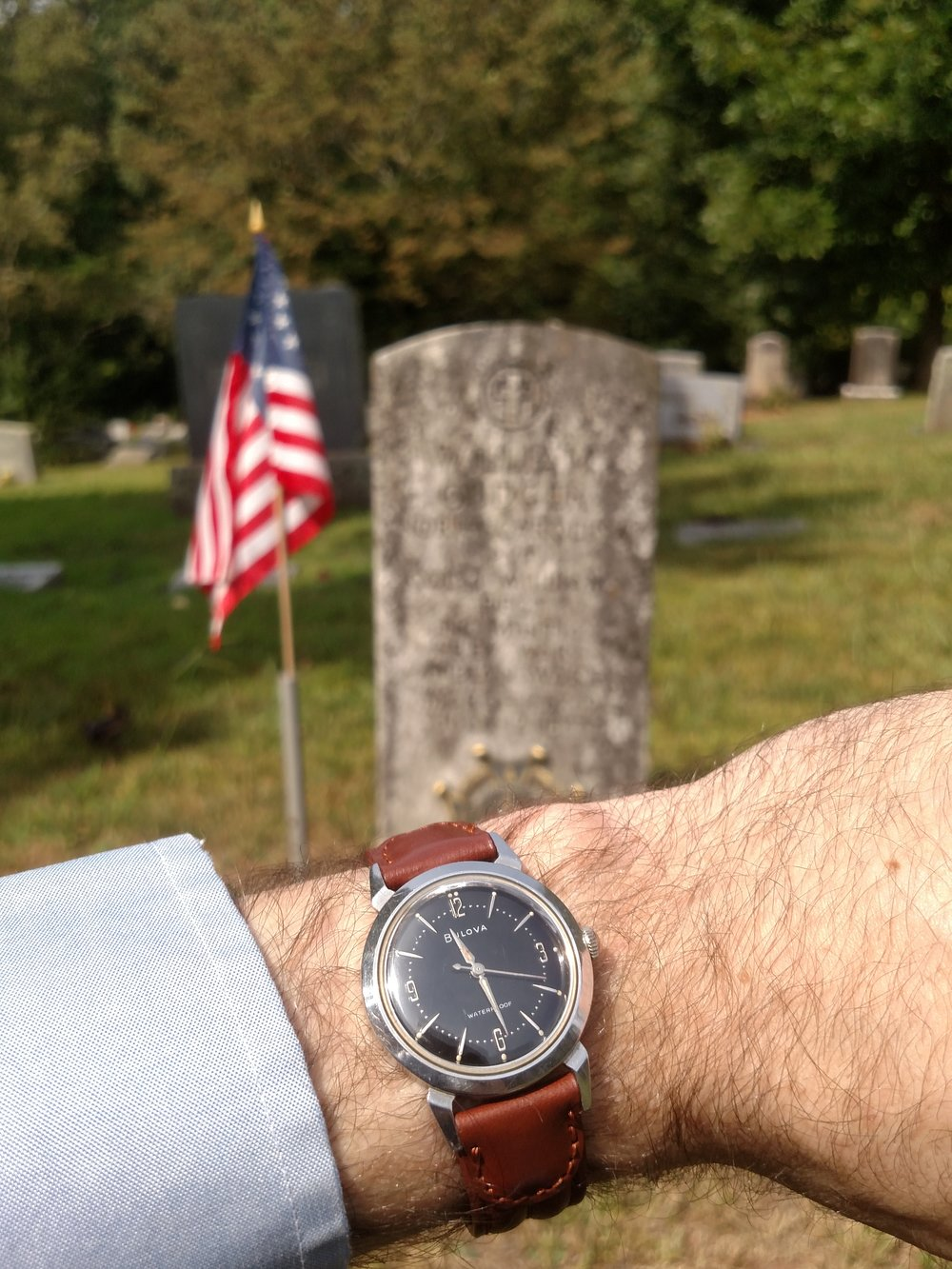 1959 Bulova at the grave site of an early ancestor (from Scotland) who fought in the American Revolutionary War  Swannanoa, Blue Ridge Mountains, North Carolina