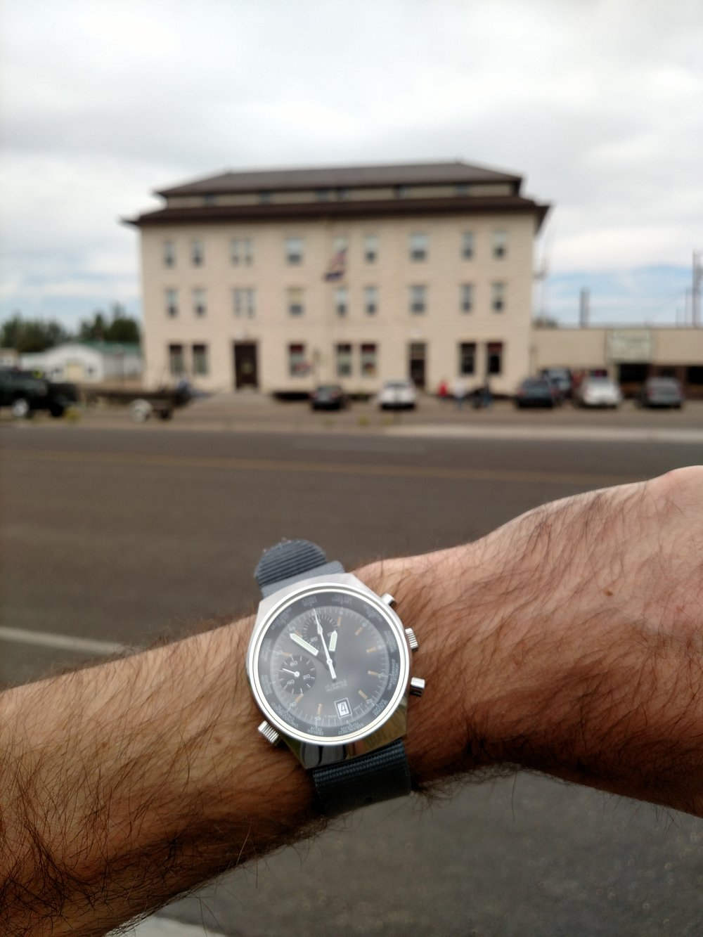 BOT Speed world timer in front of The Virginian Hotel (built in 1911)  Medicine Bow, Wyoming