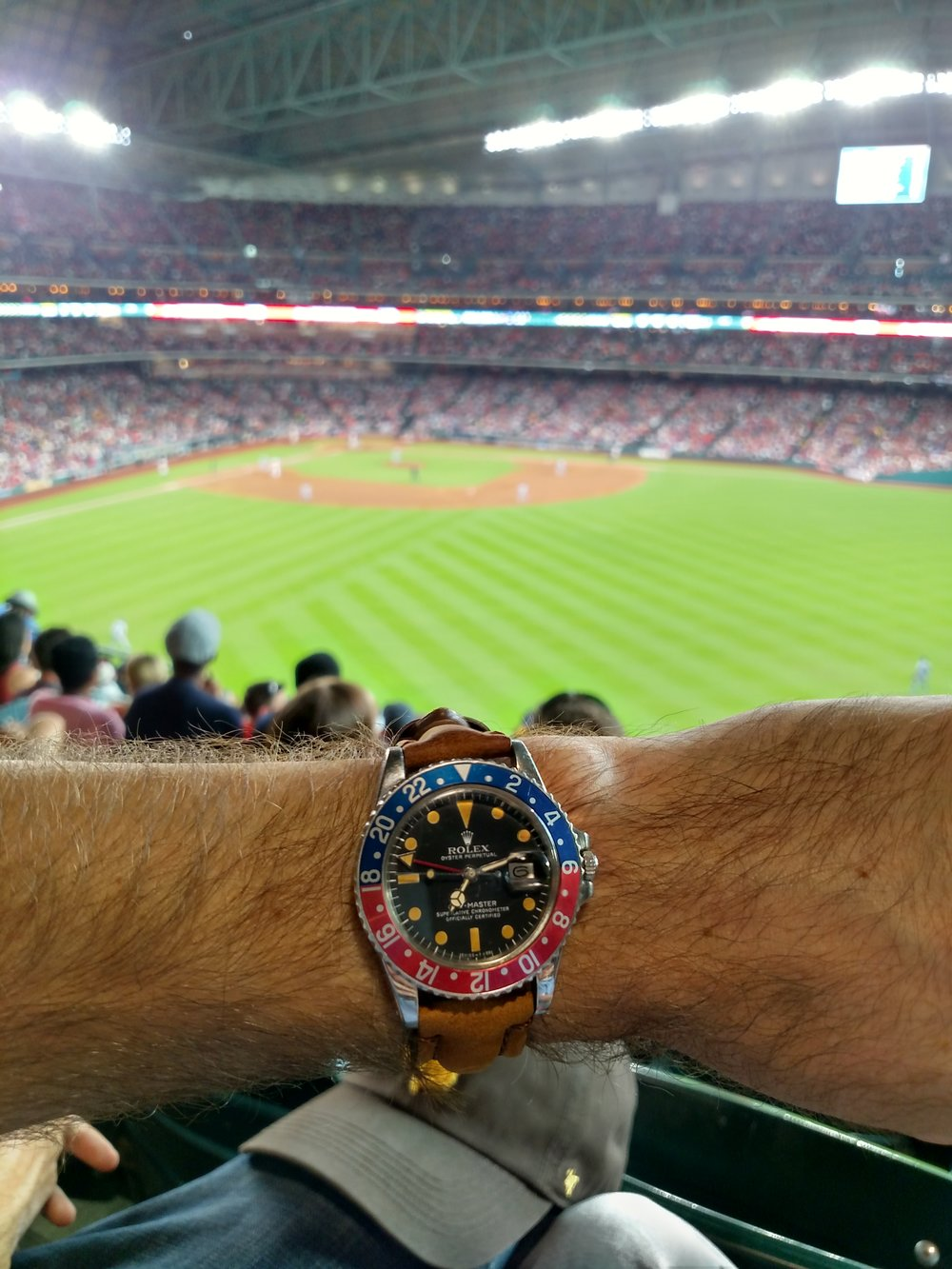 1977 Rolex GMT Master 1675 at the Houston Astro's Minute Maid Park  Downtown Houston, Texas