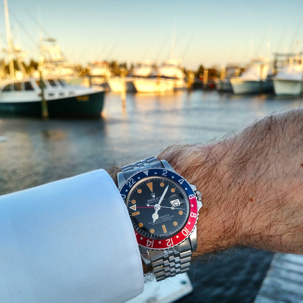 1977 Rolex GMT Master 1675 at Pirate's Cove Marina  Manteo, Outer Banks, North Carolina