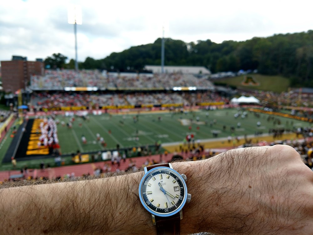 1960s Hamilton 600 Super Compressor in Kidd Brewer Stadium, home of the Appalachian State Mountaineers  Appalachian State University, Boone, North Carolina