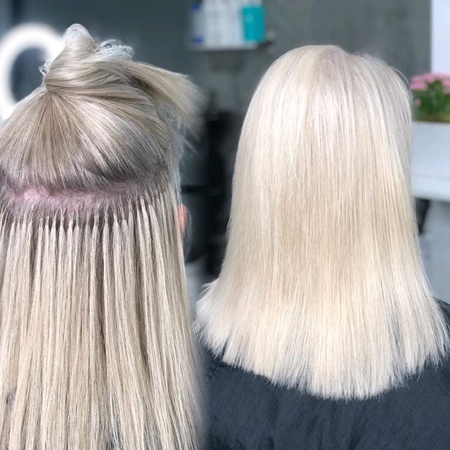 This platinum babe has been doing hair for 53 years! Talk about GOALS!  I can only hope I can still do hair and look this fly in my 70s 😍 (75 strands of cold fusion for volume in color 59 @greatlengthsusa ) @thairapypdx @behindthechair_com #behindthechair #lyndsaymaderishair #fusionextensions