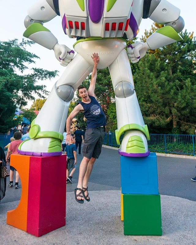 """⏪ Rewind to Day 81: """"He touched the butt."""" 🖐😂 Our favorite part of Walt Disney Studios Park was Toy Story Play Land. It's decked out in Pixar decor, so you feel like you're stepping into one of the movies. So fun! #365daysoftravels"""