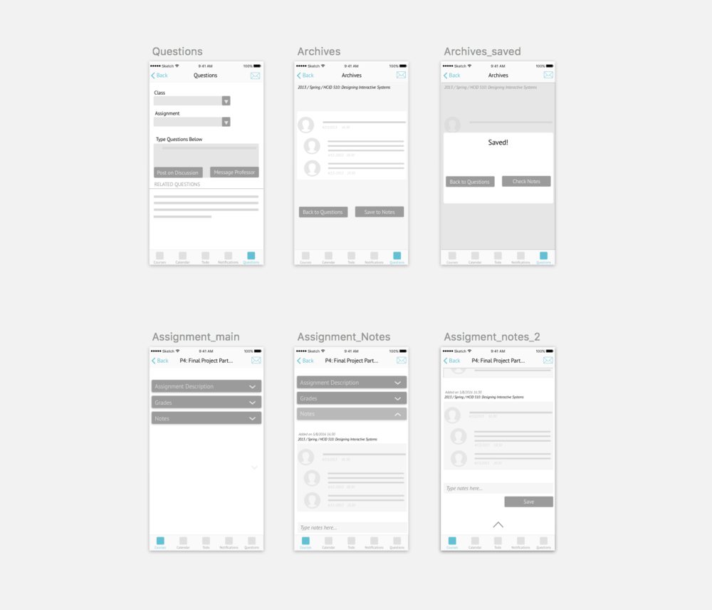 A screenshot of the low fidelity wireframes.