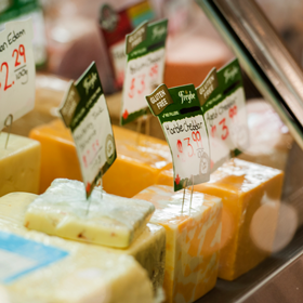 DAIRY Locally sourced and delivered daily, we're stocked with conventional and organic milk, yogurt and cream. Check out our cheese counter for a mild Gouda, medium Cheddar or strong Danish blue.