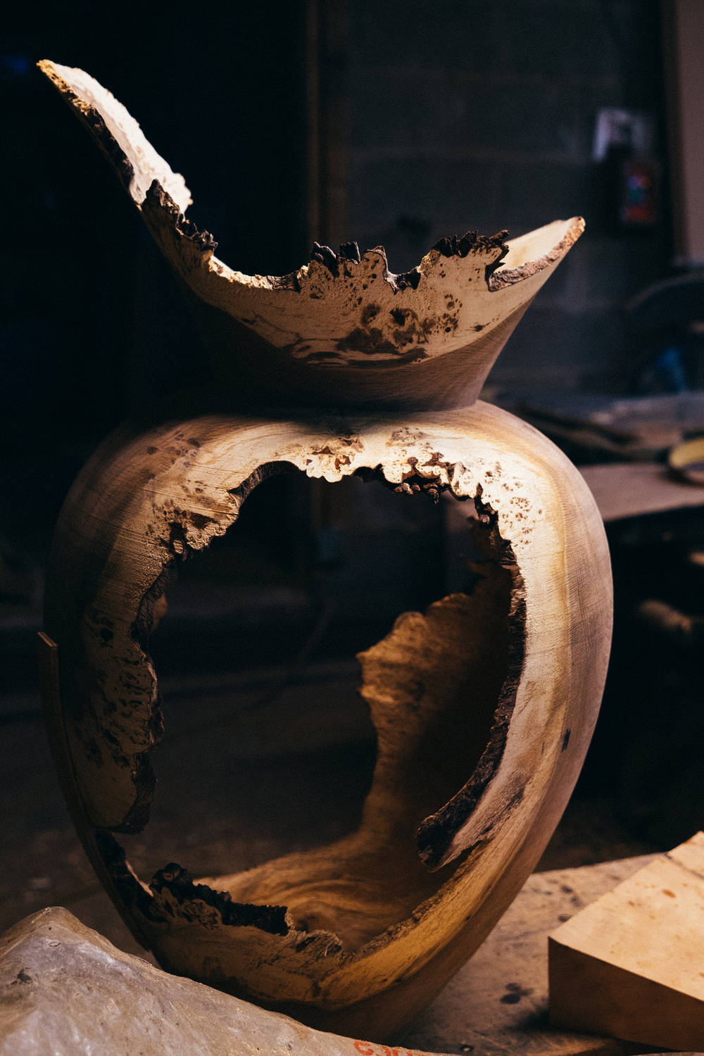Unfinished Oak Vase by J. Shorrock