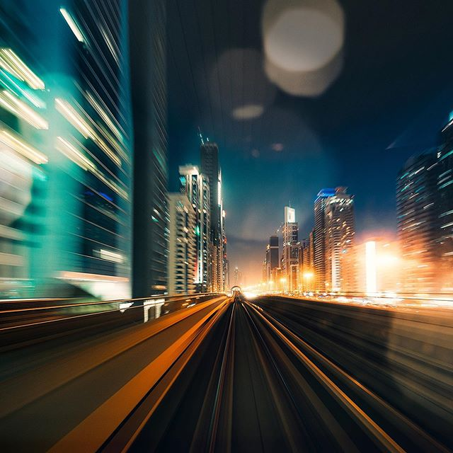 #dubai #speedmotion #train #citylights #downtown #blur #lensflare