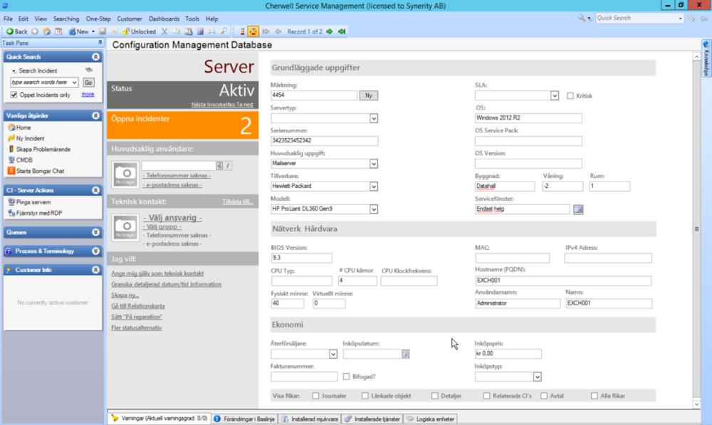 Cherwell Software på Svenska - Swedish - CMDB / Inventariehantering