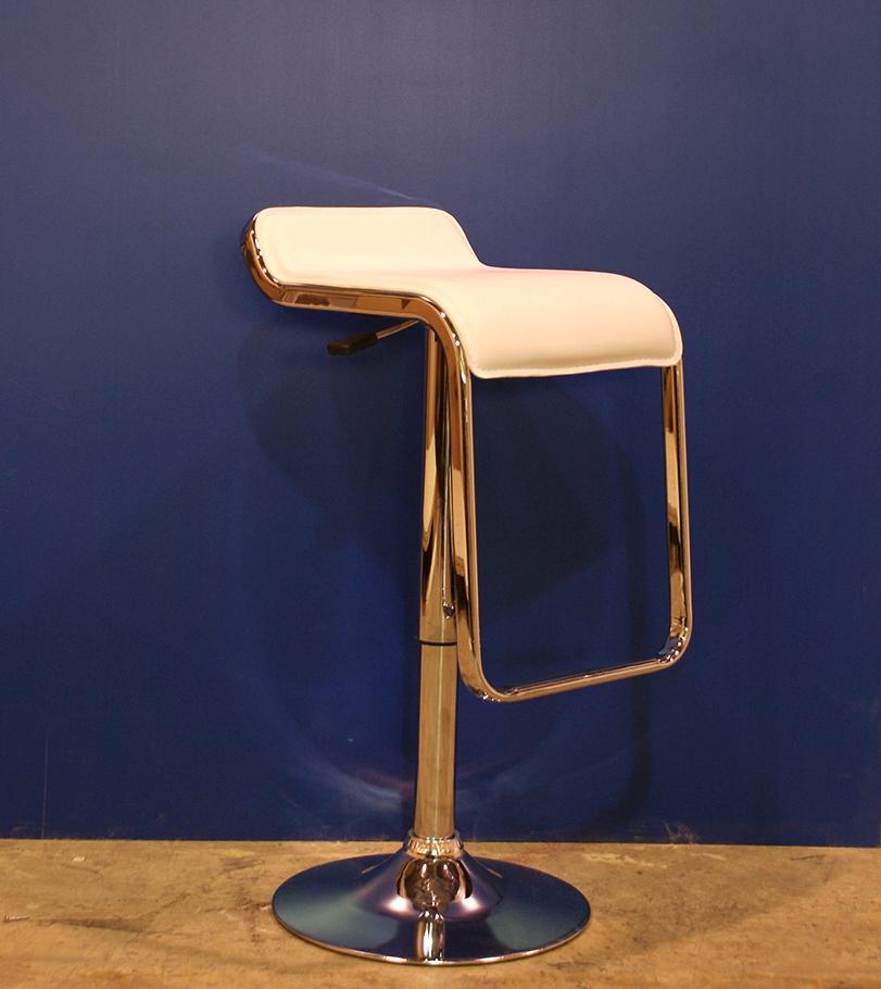 Leather adjustable height barstool - white