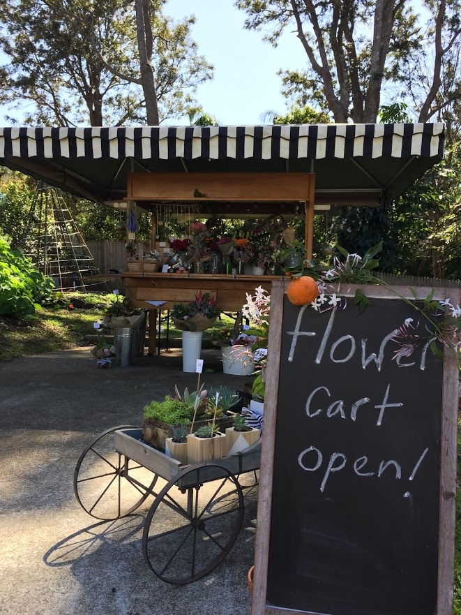beautiflora botanica - flower cart in Harvest Cafe gardens