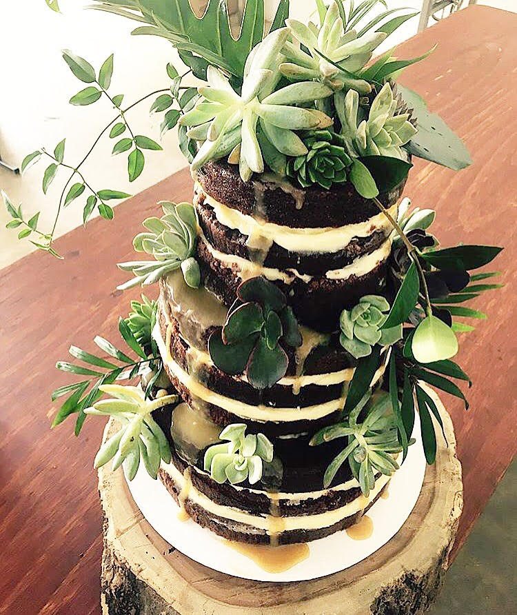 Our succulents were used everywhere - even to decorate this gorgeous cake! How unique!