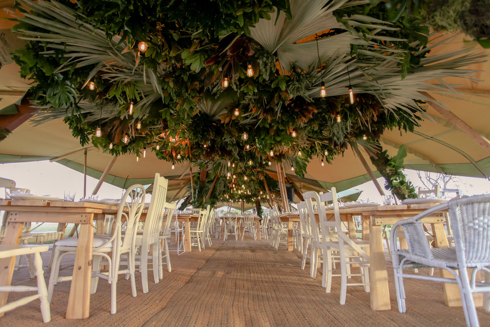 Enormous hanging rainforest installation for a gala dinner for Indeed Interactive at Elements of Byron resort