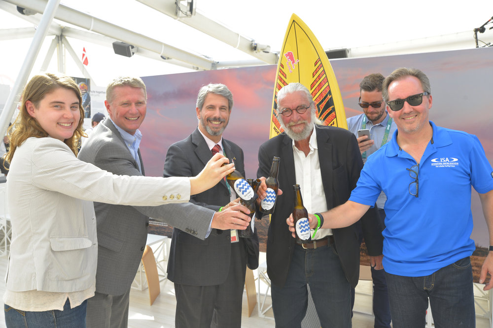 From left Christina Fontoura, Poul Erik Bligaard, trade commissioner, Ministry of Foreign Affairs of Denmark, Laudemar Aguiar, Rio's head of international relations, Finn Jorsal, president of Friends of Cold Hawaii, and Robert Fasulo, executive director, ISA, toasting at the Danish National House in Rio.
