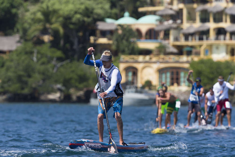 Connor Baxter, the top ranked SUP racer in the world (according to supracer.com), will be competing in all three SUP racing disciplines in Denmark. Photo: ISA / Brian Bielmann