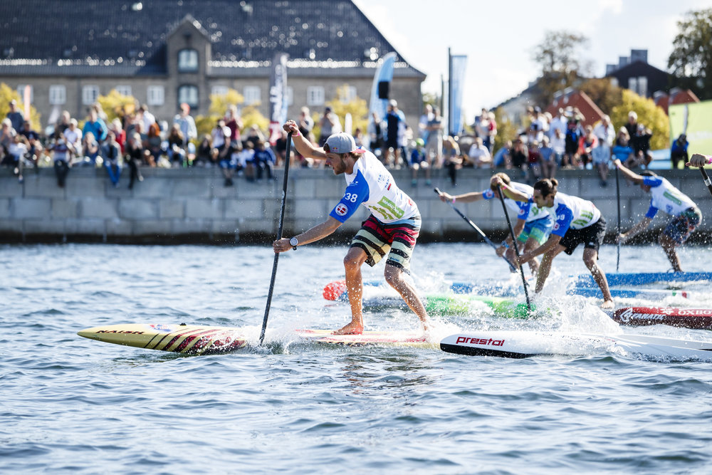 "Sprint Race - Sprint is a 200 meter SUP race, in a straight line, at the highest possible paddling speed. Women and men compete in separate races. The ""track"" will be located right in front of the venue in Copenhagen which will make it easy to follow the races."
