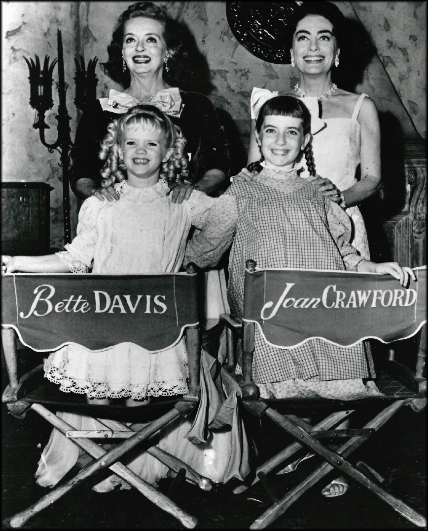 Bette Davis and Joan Crawford on set for What Ever Happened to Baby Jane?