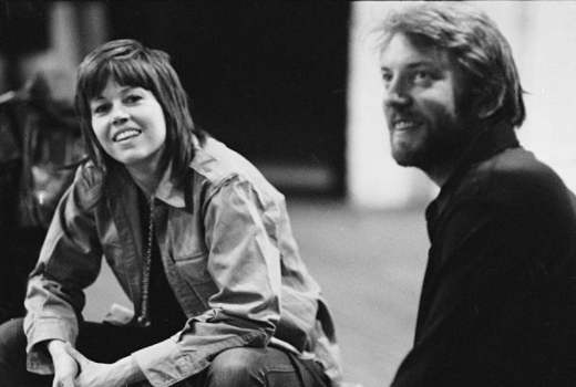 Jane Fonda and Donald Sutherland during a F.T.A. performance, 1971