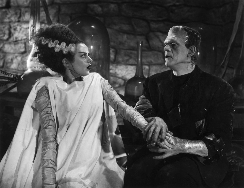 Elsa Lanchester and Boris Karloff in the  Bride of Frankenstein , 1935