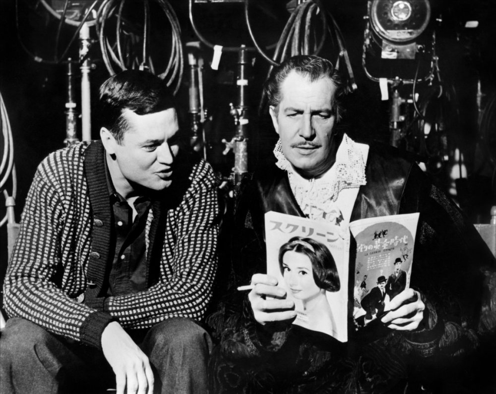 Director Roger Corman with Vincent Price on the set of The House of Usher, 1960