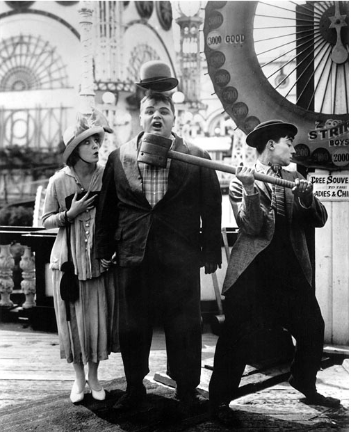 Mabel Normand, Roscoe 'Fatty' Arbuckle, Buster Keaton, c. 1915