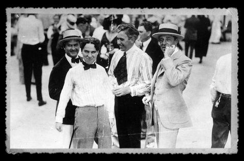 Thomas Ince, Charlie Chaplin, Mack Sennett & D. W. Griffith, c. 1915