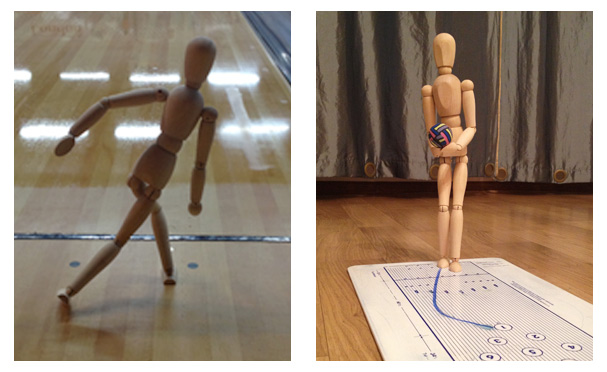 The mannequin can be used both on-lane and on top of a bowling lane overlay, such as the clipboard overlay shown.
