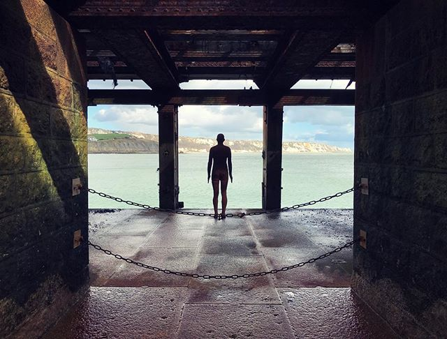 Antony Gormley's cast iron figure on the half tide loading bay of Folkestones Harbour Arm-one of Kent's many hidden treasures #antonygormley #folkestone #art #sculpture #castiron #castironaculpture #kent #kentdesign #kentdesignstudio