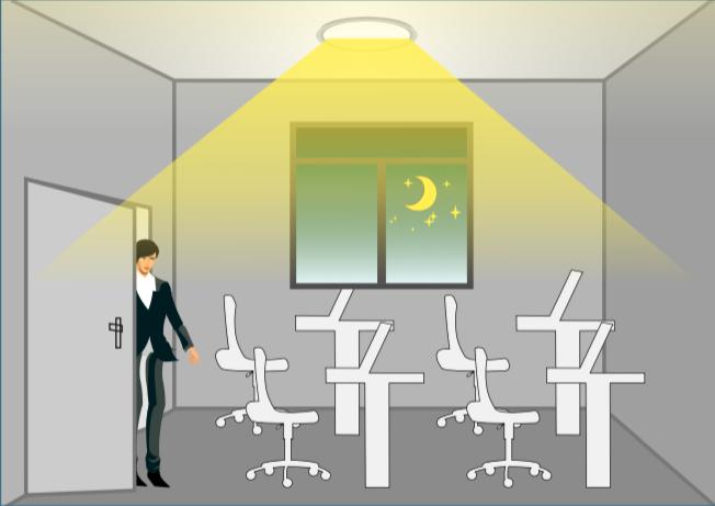 Cuando la luz es insuficiente, al haber movimiento se encienden las luces.