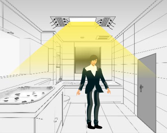 Al detectar movimiento, enciende luz y ventilador.
