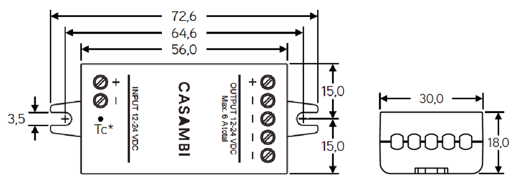 Dimensiones CBU-PWM4 Bluetooth