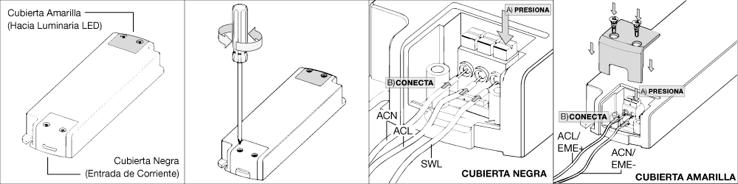 REMOVER TAPAS  Al remover las tapas tener en cuenta que la cubierta amarilla es la cual debe ir a la luminaria LED EVOLUX y que la cubierta Negra es la que debe ir hacia la Entrada de Corriente.  CUBIERTA NEGRA  A) Mantener Presionado para introducir el cable.  B) Introducir el Cable mientras se presiona , para Fijar al terminal deja de presionar. En orden ACN (Left),ACL (Center) y SWL(Right).  CUBIERTA AMARILLA  A) Mantener Presionado para introducir el cable.  B) Introducir el Cable mientras se presiona , para Fijar al terminal deja de presionar. En Orden ACL/EME+ (Left) y ACL/EME-(Right)  C) Ponga las tapas atornille, cierre y pruebe si el producto funciona. De no prender revise los pasosa, hasta encontrar el problema.
