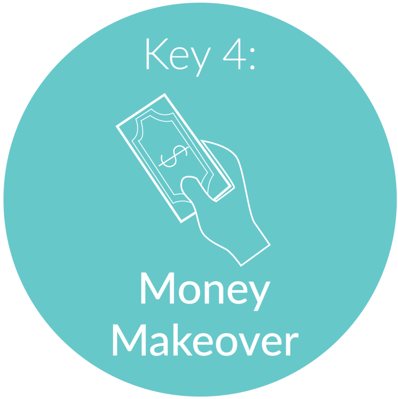 Key 4:    Money Makeover.  From the time we are little kids, we begin receiving messages about money. These money messages can often shape and influence our earning power. We will explore your beliefs and relationship with money, identify the impact it has on the jobs you take and compensation (or lack of) you've received, and lay the groundwork to begin changing these messages so you can achieve your earning potential.