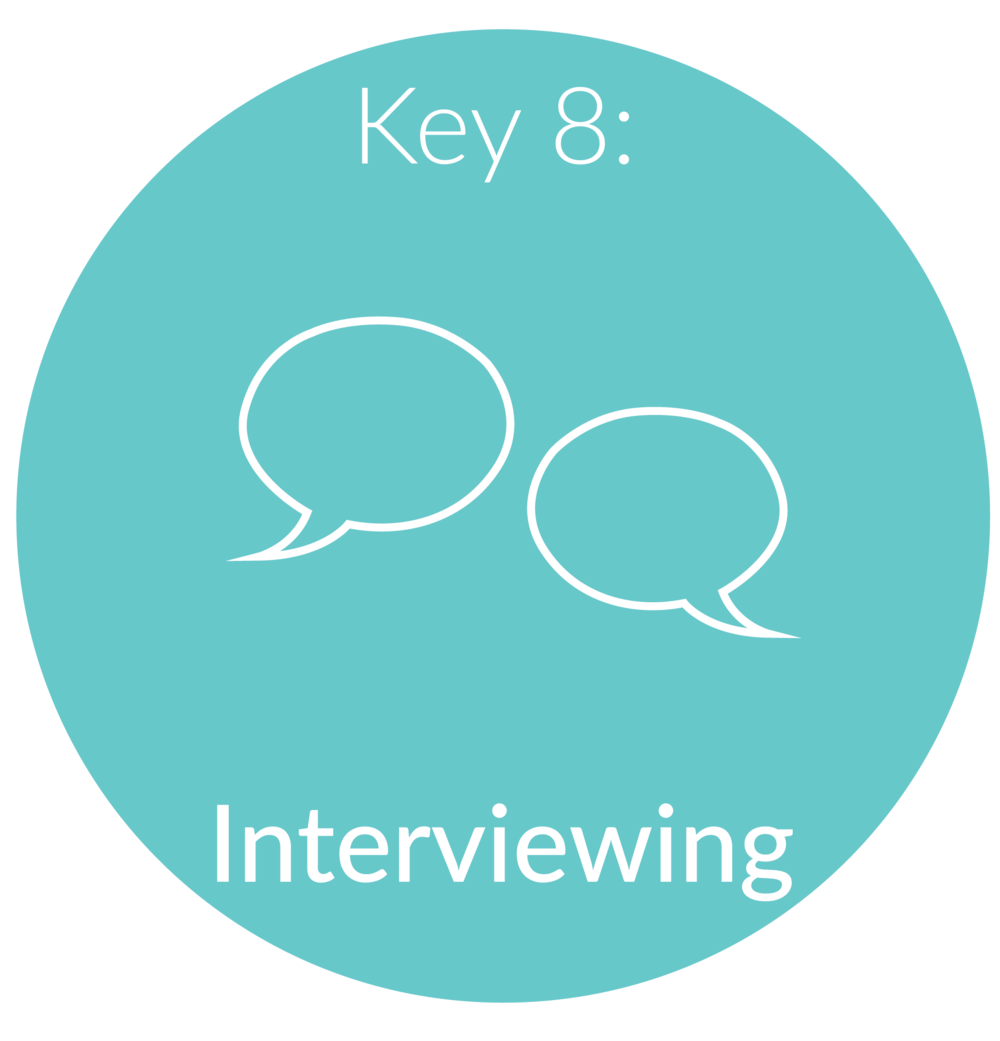 Key 8:   Interviewing.  Many millennials starting out in their career or making a career transition are nervous about something on their resume or in their past. We will use this session to skillfully navigate the interview. I will teach you the essentials to prepare for your interview, how to answer some of the questions that will likely come up during the interview, and how to handle post interview follow-up.