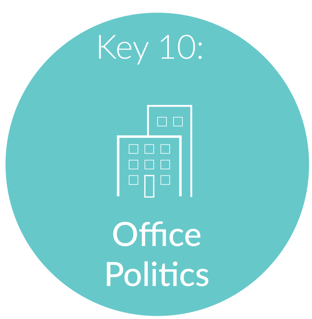 Key 10:  Office politics.  Hopefully by now you have been diligently following through with all of our lessons and you have landed a new job offer! We will use our last session together to go over the murky waters of office politics. I'll teach you how to handle the negative Nancy's, gossiping Gina's, and a boss that knows no bounds. Navigating office politics like a rock star can mean the difference between getting fired or advancing to the level you really want to be at.