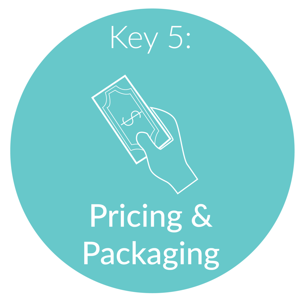 Key 5:   Pricing and Packaging.      Now that your signature system is in place, we will look at your goals as they relate to both time and money and figure out how to package and price your services and offerings to reach those goals!