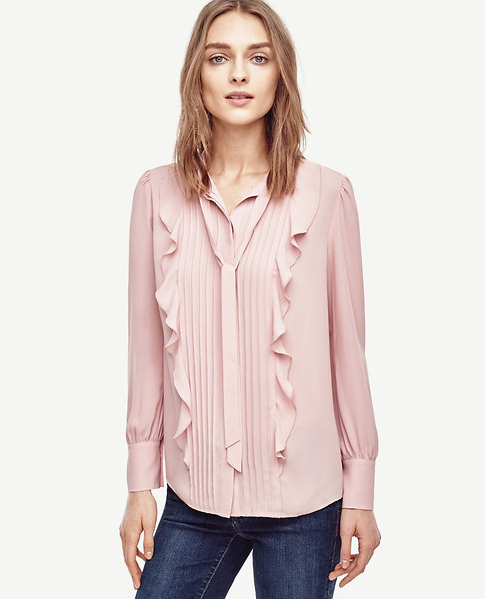 Emily Essentially | Fashion | Ann Taylor - Pintucked Tie Neck Ruffled Blouse