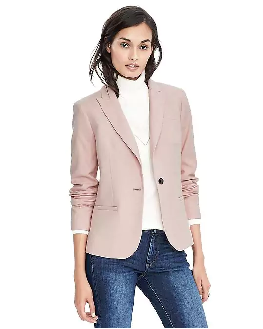 Emily Essentially | Fashion | Banana Republic - Herringbone Luxe Brushed Twill One-Button Blazer