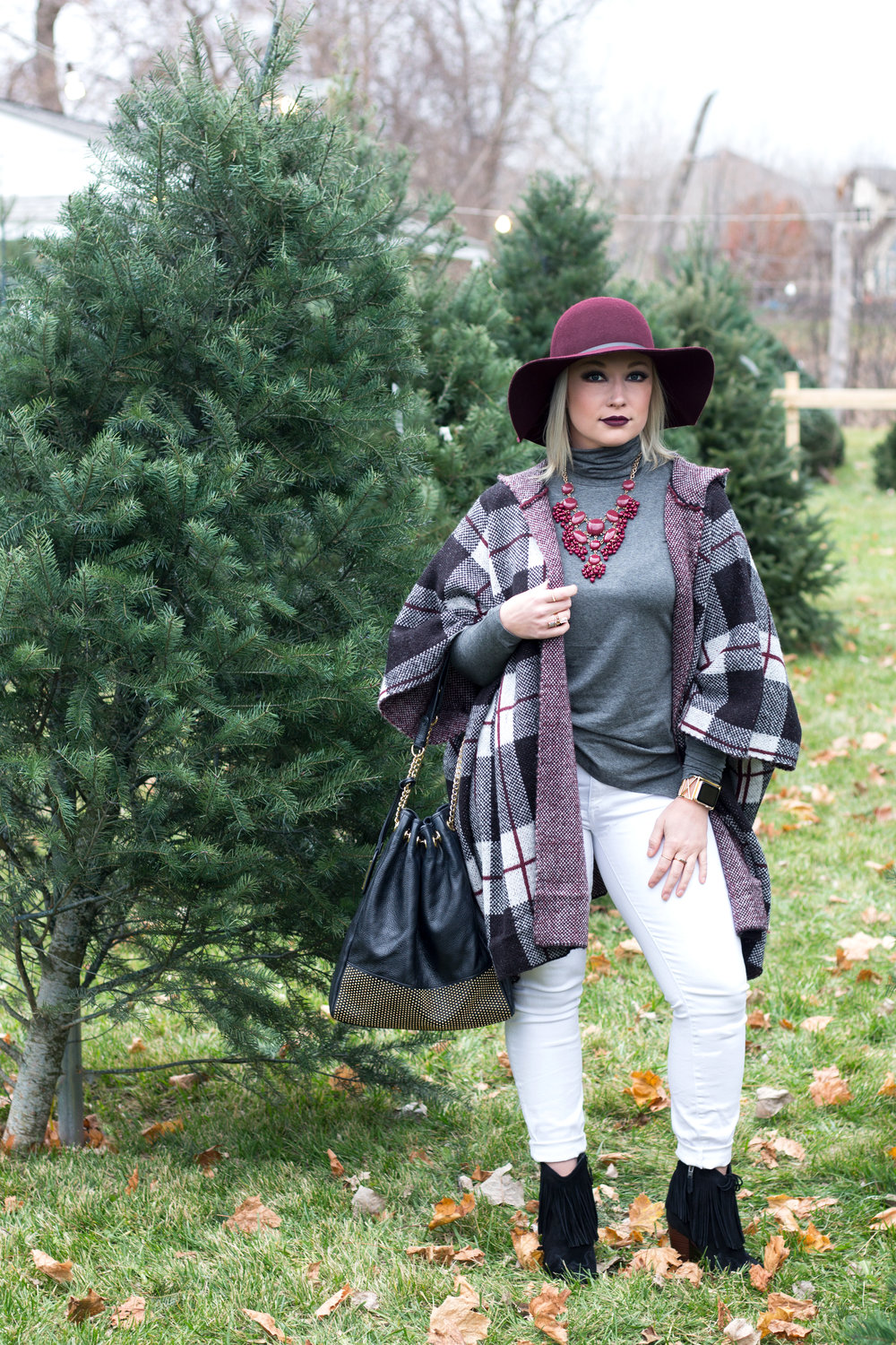 Emily Essentially | Fashion | Plaid Poncho: How To Do Winter White Right 5