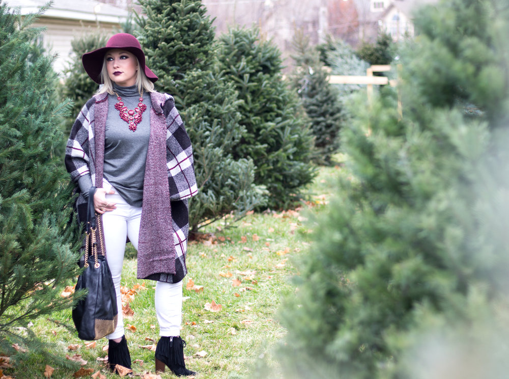 Emily Essentially | Fashion | Plaid Poncho: How To Do Winter White Right 3