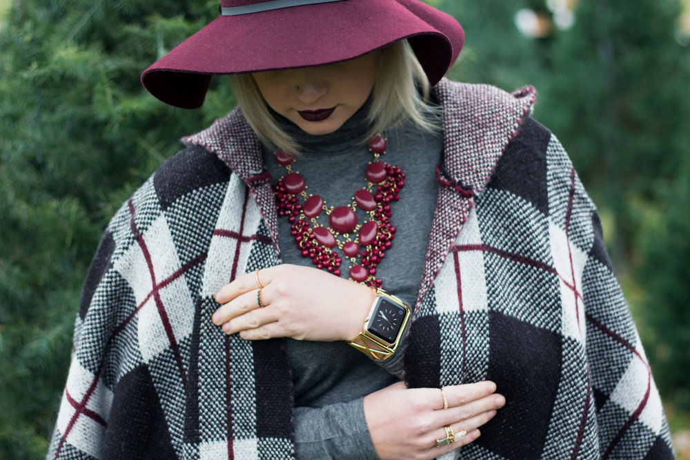 Emily Essentially | Fashion | Plaid Poncho: How To Do Winter White Right 10