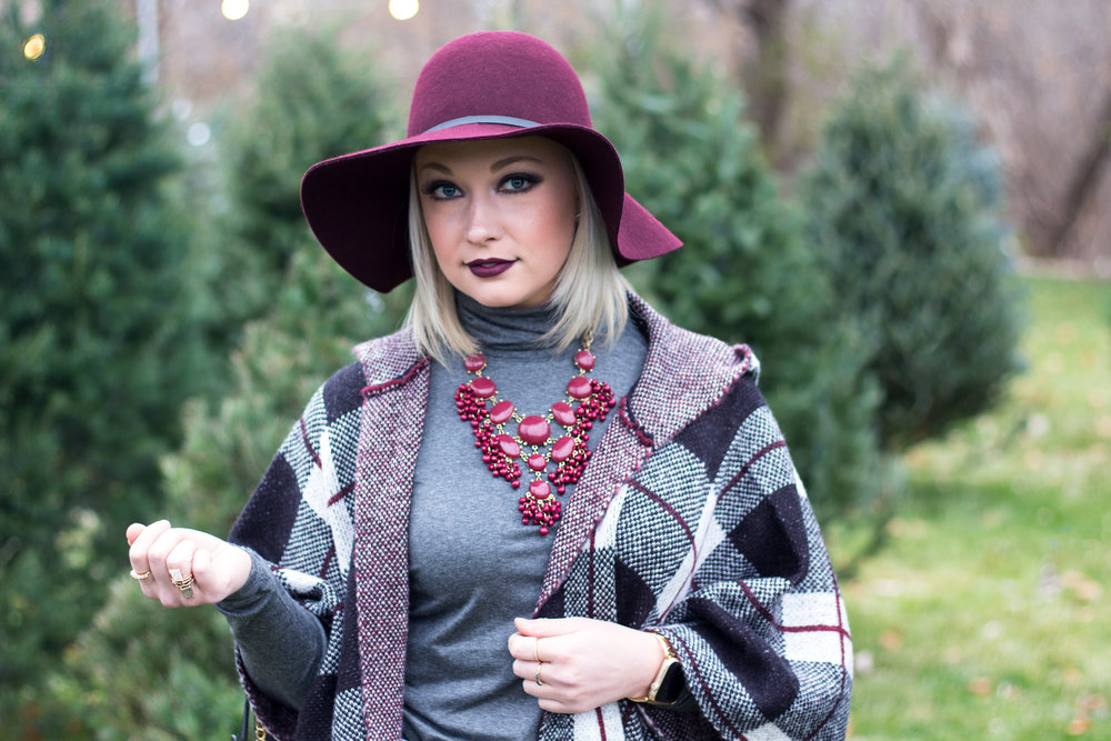 Emily Essentially | Fashion | Plaid Poncho: How To Do Winter White Right 12