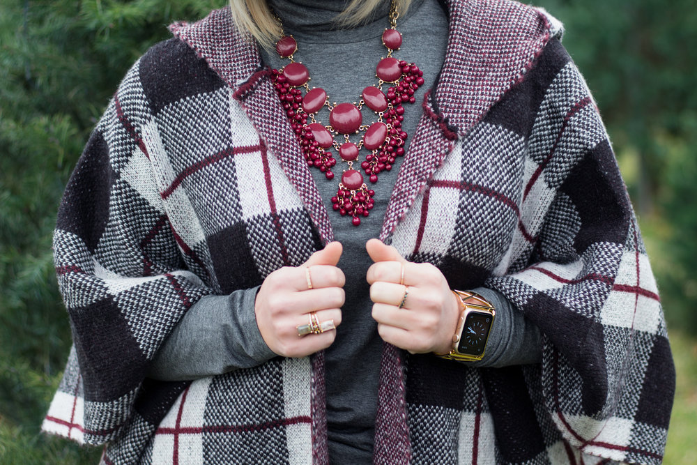 Emily Essentially | Fashion | Plaid Poncho: How To Do Winter White Right 4