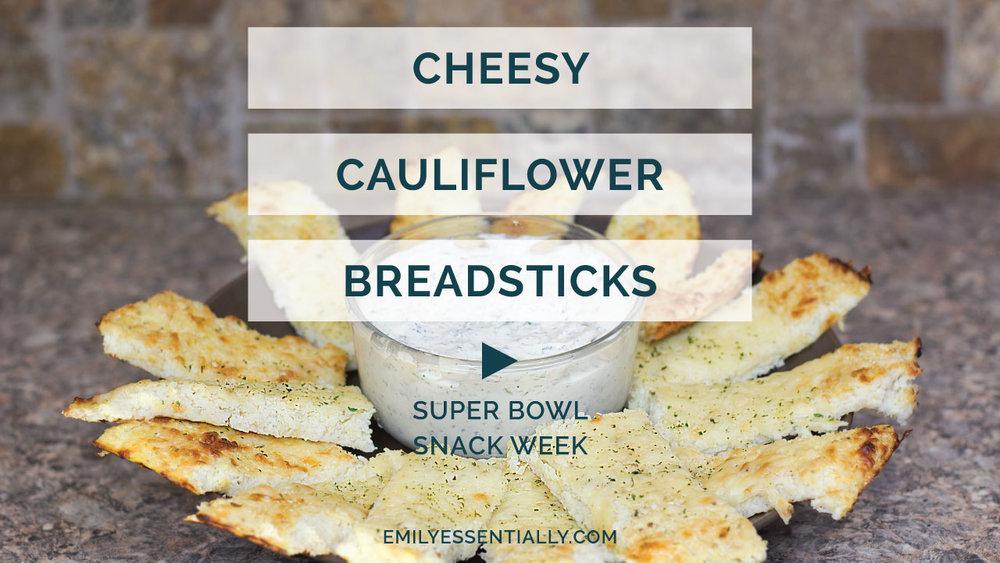 Cheesy Cauliflower Breadsticks | Super Bowl Snack Week | Emily Essentially