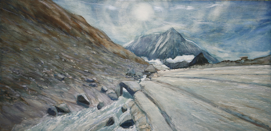 Glacial Ice, Water and Rock below Mont Blanc de Cheilon - 61 x 122 cm, oil on MDF panel.