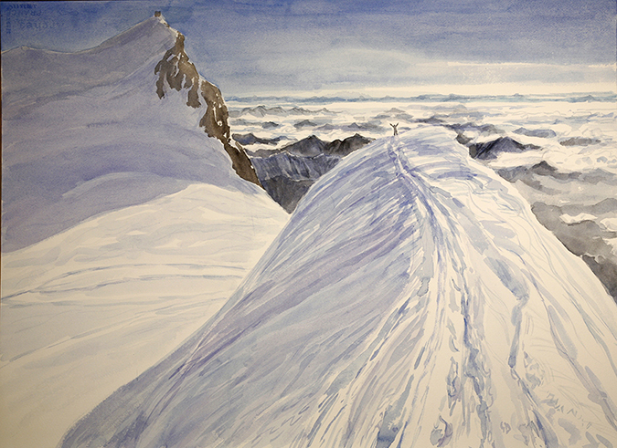 Joy at reaching the summit of Parrotspitze, watercolour on paper.