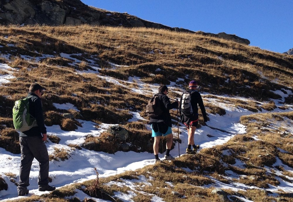 Hats and shorts... regulating body temperature in Autumn in the French Alps.