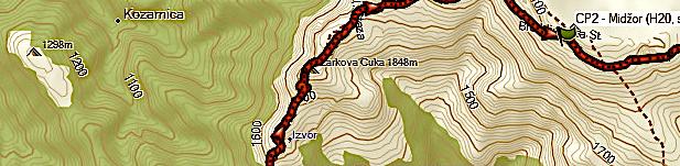 Midžor map