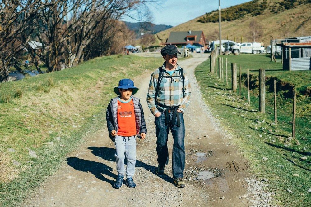 Rowan White and his son in New Zealand.