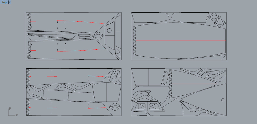 The CNC sheet layout for the CVS kit (shows planned sailing components)